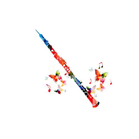 Colorful cassical flute with music notes and butterflies isolated. Music instrument background vector illustration. Design for poster, brochure, invitation, banner, flyer, concert and music festival Illustration