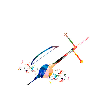 Colorful rebab with music notes and hummingbirds isolated. Music instrument background vector illustration. Design for poster, brochure, invitation, banner, flyer, concert and music festival
