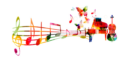 cellos: Colorful music background with piano and violoncello vector illustration. Music instruments with music notes