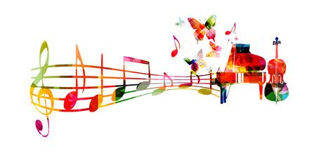 pentagrama musical: Fondo de música colorido con la ilustración de piano y violonchelo vectorial. instrumentos musicales con notas musicales
