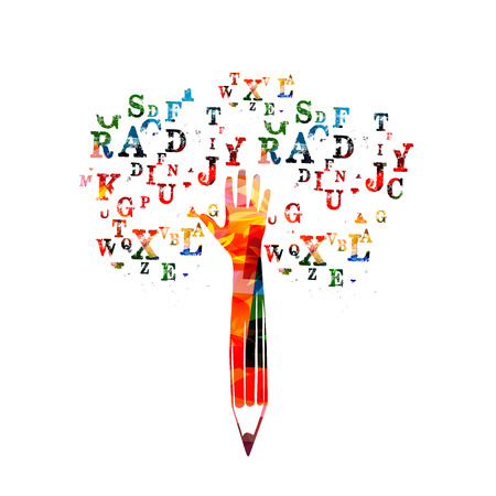Colorful pencil with human hand and alphabet letters vector illustration