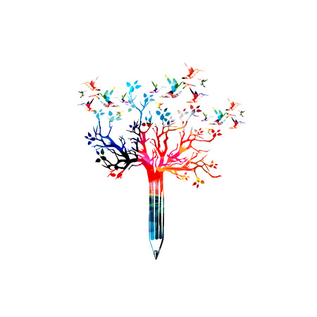 Colorful pencil with treetop and hummingbirds vector illustration. Creative writing, blogging, education, book cover, article and website content writing, copywriting design