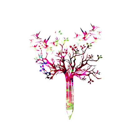 article writing: Colorful pencil with treetop and hummingbirds vector illustration. Creative writing, blogging, education, book cover, article and website content writing, copywriting design