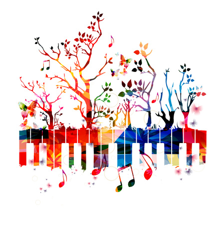 Colorful piano keyboard with trees and music notes.