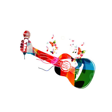 Colorful acoustic guitar with hand and microphone. Music instrument with music notes background vector illustration. Design for poster, brochure, invitation, banner, flyer, concert and music festival Çizim
