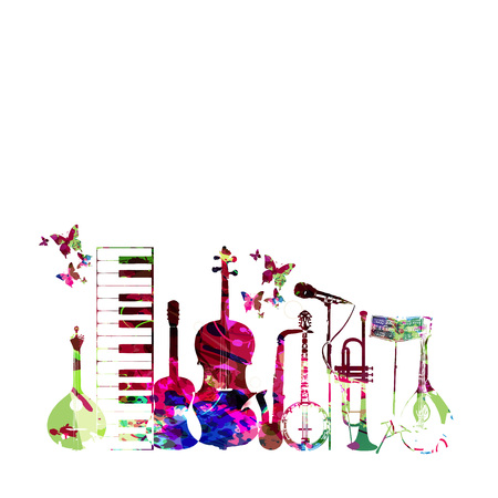 Colorful music instruments isolated vector illustration.