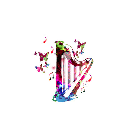 concert background: Colorful concert harp with butterflies isolated vector illustration. Music background for poster, brochure, banner, flyer, concert, music festival. Music instrument isolated