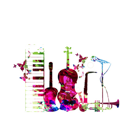 violoncello: Colorful music instruments isolated vector illustration. Piano keyboard, guitar, trumpet, microphone, saxophone and violoncello. Music background. Music instruments isolated