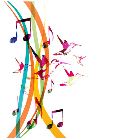 Colorful music notes with hummingbirds isolated vector illustration.