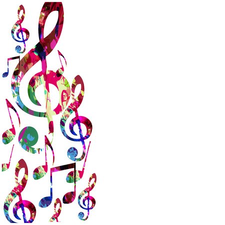 Colorful music notes isolated vector illustration. Music background for poster, brochure, banner,  concert, music festival