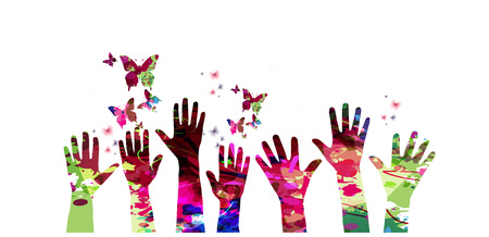 human hands: Colorful many human hands with butterflies vector illustration