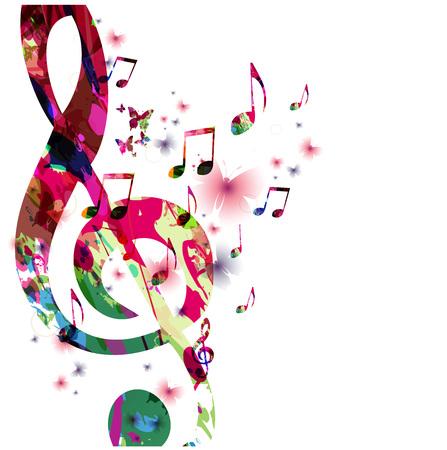 Bunte Musiknoten mit Schmetterlingen isoliert Vektor-Illustration. Musikhintergrund für Poster, Broschüre, Banner, Flyer, Konzert, Musikfestival