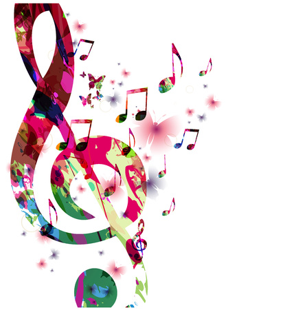 Kolorowe nuty z motyli izolowane ilustracji wektorowych. Muzyka tła dla plakatu, broszury, ulotki, baner, koncert, festiwal muzyczny
