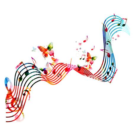 音楽とカラフルなステーブ ノートし、蝶分離ベクトル図です。ポスター、パンフレット、バナー、チラシ、コンサート、音楽祭の音楽の背景  イラスト・ベクター素材