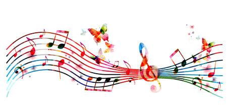 Kleurrijke staaf met muzieknota's en vlinders geïsoleerde vectorillustratie. Muziek achtergrond voor poster, brochure, banner, flyer, concert, muziekfestival Stockfoto - 73504601