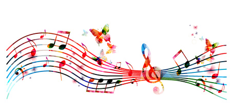 Colorful stave with music notes and butterflies isolated vector illustration. Music background for poster, brochure, banner, flyer, concert, music festival Vettoriali