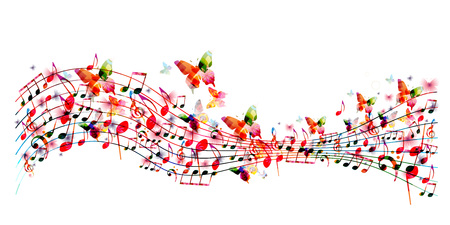 Colorful stave with music notes and butterflies isolated vector illustration. Music background for poster, brochure, banner, flyer, concert, music festival Vectores
