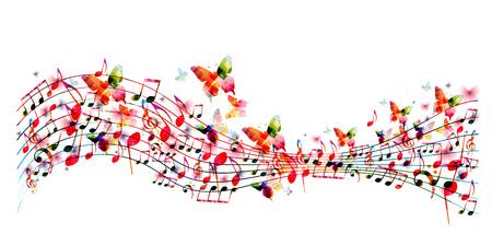 Kleurrijke staaf met muzieknota's en vlinders geïsoleerde vectorillustratie. Muziek achtergrond voor poster, brochure, banner, flyer, concert, muziekfestival