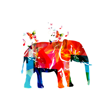 animal silhouette: Colorful elephant with butterflies isolated vector illustration. Animals design, wild animals background Illustration