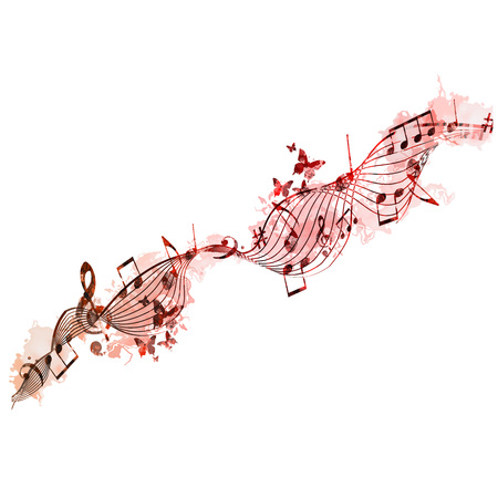 Colorful stave with music notes and butterflies isolated vector illustration. Music background for poster, brochure, banner,  concert, music festival