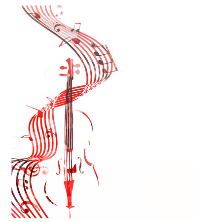 La doga variopinta con le note di musica e il violoncello ha isolato l'illustrazione di vettore. Sfondo del personale musicale per poster, brochure, banner, concerti, festival musicale Vettoriali