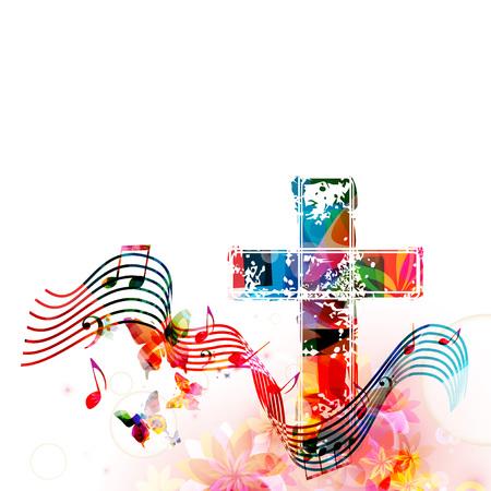 Kleurrijke christelijke kruis met spelling en muziek notities geïsoleerde vectorillustratie Stock Illustratie