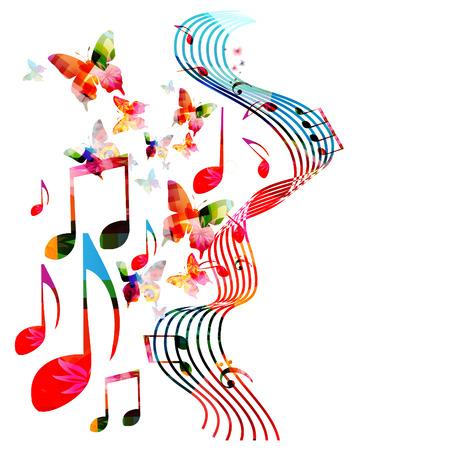음악 노트와 나비 격리 된 벡터 일러스트와 함께 다채로운 구멍이. 포스터, 브로셔, 배너, 전단지, 콘서트, 음악 축제의 음악 배경 일러스트