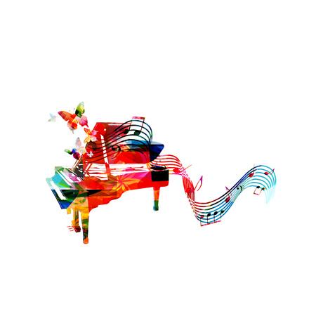 Kleurrijke piano met muzieknota's en vlinders geïsoleerde vectorillustratie. Muziek achtergrond voor poster, brochure, banner, flyer, concert, muziekfestival
