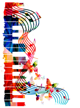 Colorful piano keyboard with music notes and butterflies isolated vector illustration. Music background for poster, brochure, banner, concert, music festival Illustration