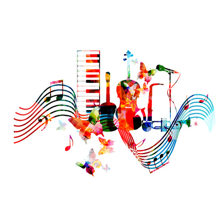Colorful music instruments with music notes and butterflies isolated vector illustration. Music background. Piano keyboard, guitar, violoncello, trumpet, saxophone and microphone background Illustration