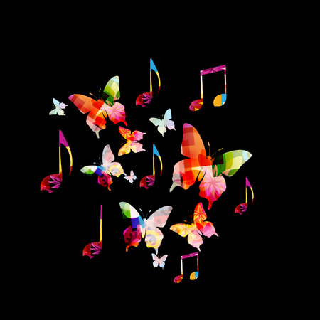 stave: Colorful music notes with butterflies vector illustration. Music background for poster, brochure, banner, flyer, concert, music festival Illustration