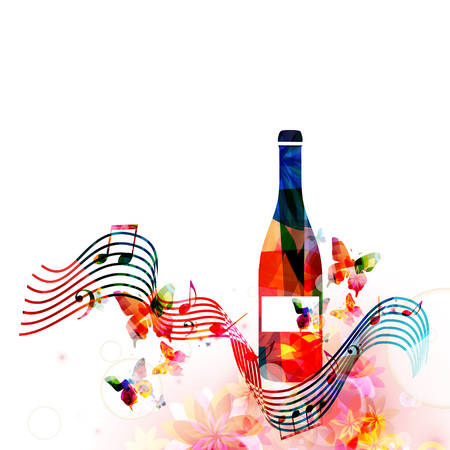 Colorful bottle with music notes isolated vector illustration. Background for restaurant poster, restaurant menu, music events, festivals and promotions