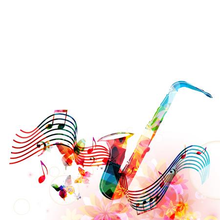 Colorido saxofón con notas de música y mariposas aislados ilustración vectorial. Fondo del instrumento de la música para el cartel, folleto, bandera, aviador, concierto, festival de música