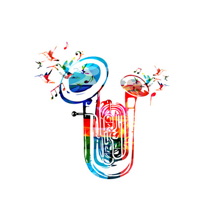 Colorful double bell euphonium with music notes and hummingbirds isolated vector illustration. Music instrument background for poster, brochure, banner, flyer, concert, music festival Illustration