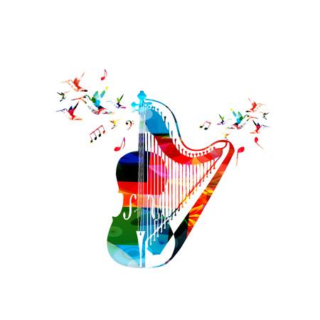 El violoncello colorido con la arpa y los colibríes aisló el ejemplo del vector. Fondo de instrumento de música para cartel, folleto, banner, flyer, concierto, festival de música Vectores