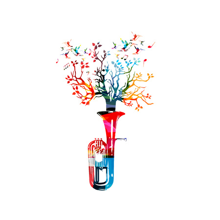 Colorful euphonium with treetop and music notes isolated vector illustration. Music instrument background for poster, brochure, banner, flyer, concert, music festival