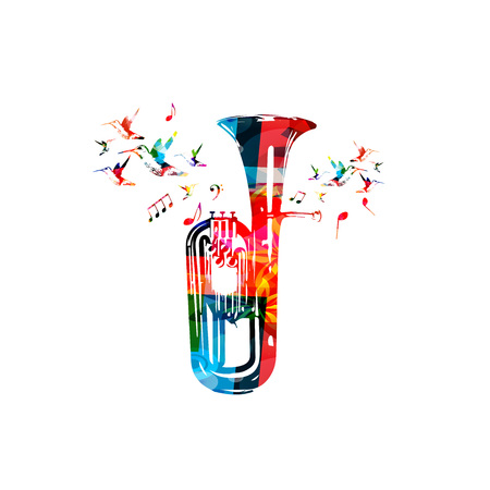 Colorful euphonium with music notes and hummingbirds isolated vector illustration. Music instrument background for poster, brochure, banner, flyer, concert, music festival