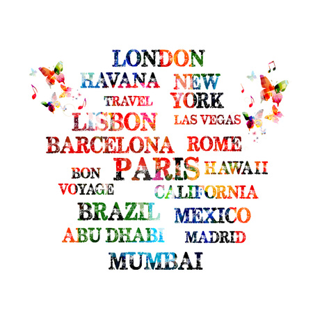 Touristic most famous destinations in the world. Typography travel vector illustration
