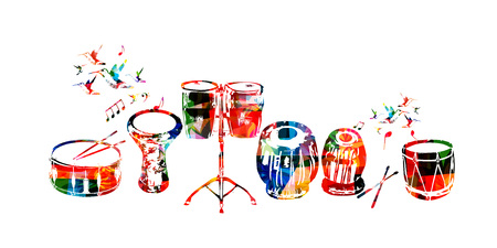 Musikinstrumente Vektor. Bunte Trommel, Darbuka, Bongotrommeln, indische Tabla und traditionelle türkische Trommel lokalisierten Vektorillustration