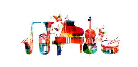 Music instruments vector. Colorful saxophone, euphonium, piano, violoncello and drum isolated vector illustration