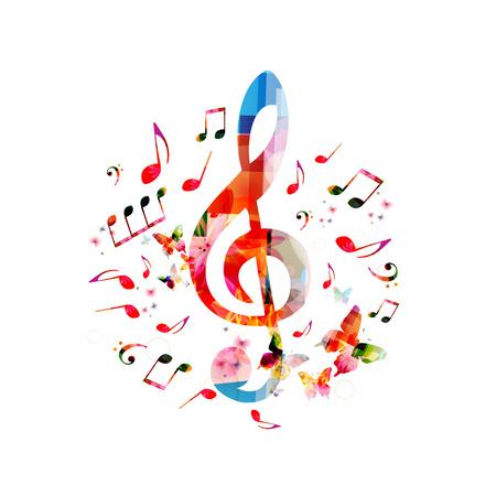Fond de notes de musique. G-clef coloré et notes de musique isolées illustration vectorielle Banque d'images - 76574996
