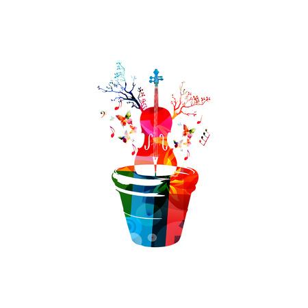音楽の楽器の背景。花ポット分離ベクトル図にカラフルなチェロ