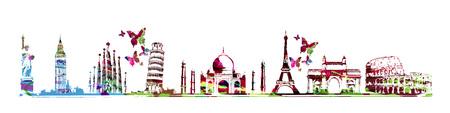 Travel and tourism background. Famous world landmarks vector illustration. World skyline isolated Stock fotó - 76731074