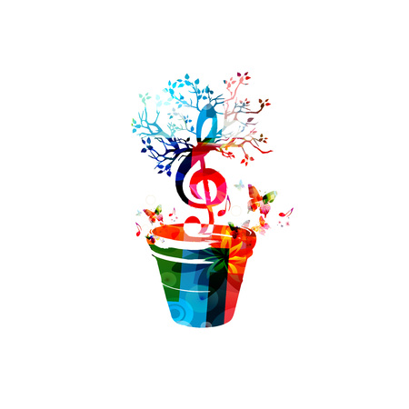 Music notes background. Colorful G-clef in flower pot isolated vector illustration. Treble clef design