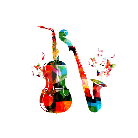 Music instruments background. Colorful saxophone and violoncello isolated vector illustration