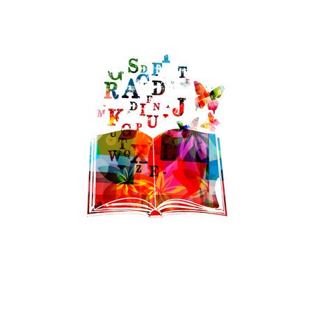 Kleurrijk boek met de vectorillustratie van alfabetbrieven. Ontwerp voor onderwijs en literatuur Stock Illustratie