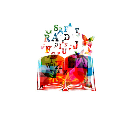 Colorful book with alphabet letters vector illustration. Design for education and literature