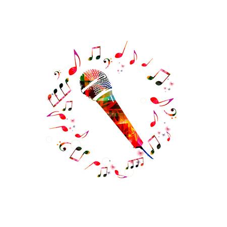 マイクを使って音楽の背景。音符とカラフルなマイク分離ベクトル図