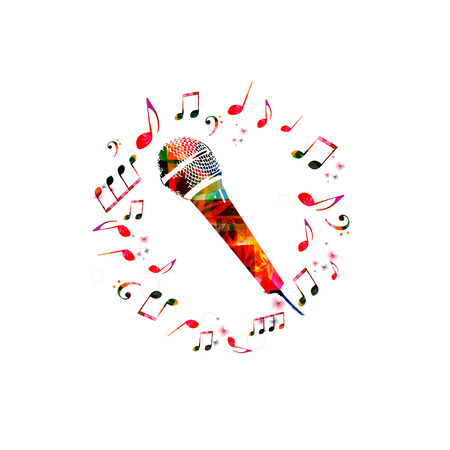 Music background with microphone. Colorful microphone with music notes isolated vector illustration Ilustrace