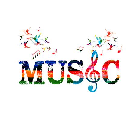 Napis muzyczny z kluczem G. Kolorowe słowo muzyka na białym tle ilustracji wektorowych